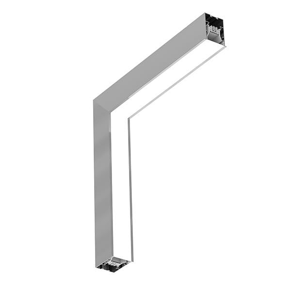 Flos Architectural In-Finity 70 Recessed Trim Micro-Prismatic Diffuser Dihedral Corner AN N70TDC3U02B Silver