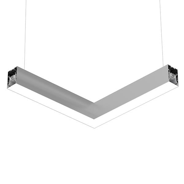 Flos Architectural In-Finity 70 Suspension Down Micro-Prismatic Diffuser Flat Corner AN N70DFC3U02B Silver
