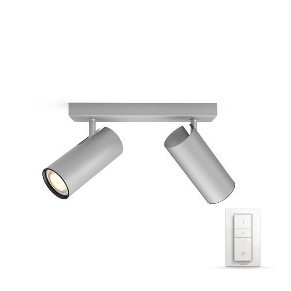 Philips Hue Buratto White Ambiance Spotlight 2x (dimmer incl.) MA 5046248P7 Aluminium